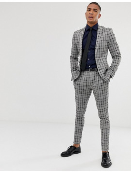 asos-design---veste-de-costume-super-slim-en-jersey-à-carreaux-ton-sur-ton---gris by asos-design