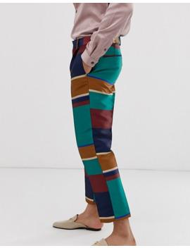 asos-design---pantalon-élégant-court-slim-à-rayures-multicolores-avec-cordon-de-serrage by asos-design