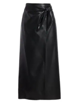 amas-vegan-leather-side-tie-midi-skirt by nanushka