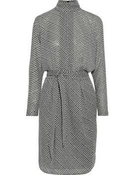 anastasia-belted-houndstooth-crepe-de-chine-dress by joie