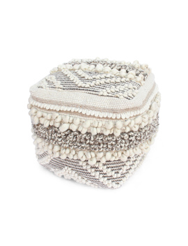 samantha-contemporary-wool-and-cotton-pouf-ottoman,-natural-and-white by gdf-studio