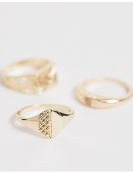 asos-design---set-met-smalle-vintage-ringen-in-goudkleur by asos-design