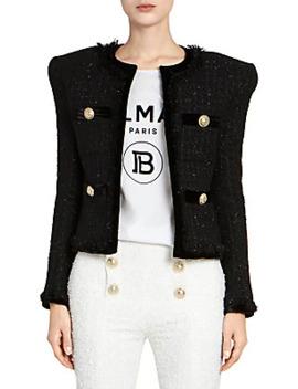 collarless-fringe-tweed-&-velvet-jacket by balmain