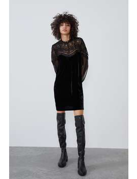 velvet-trim-dress by zara