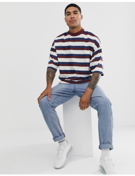 asos-design-oversized-striped-t-shirt-with-turtle-neck by asos-design