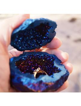 ready-to-ship-cobalt-blue-crystals-geode-agate-box,-wedding-ring-box,perfect-for-ring-display-holder,geode-engagement-ring-box,wedding-decor by etsy