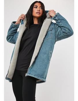 blue-denim-teddy-borg-lined-hooded-vintage-parker by missguided