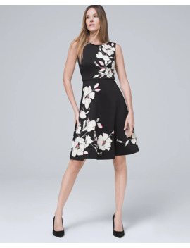 floral-scuba-knit-fit-and-flare-dress by whbm