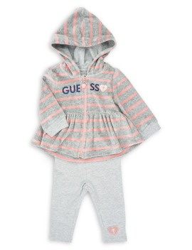 baby-girls-2-piece-chenille-hoodie-&-cotton-blend-leggings-set by guess
