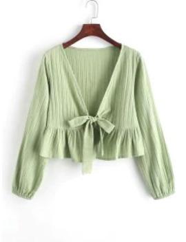 --hot-saleruffle-hem-knotted-v-neck-crop-blouse---green-m by zaful