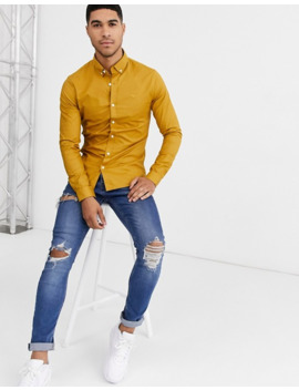 new-look-muscle-fit-oxford-shirt-in-mustard by new-look