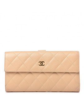 chanel-caviar-quilted-long-flap-wallet-beige by chanel