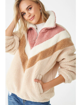 faux-shearling-chevron-pullover by forever-21