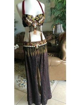 tribal-belly-dance-costume-3-pieces-bra-top,-belt-&-fit-flare-pants by ebay-seller