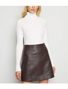 dark-brown-leather-look-mini-skirt by new-look