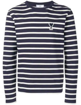 long-sleeved-striped-tee-shirt-with-big-ami-de-coeur-patch by ami-paris