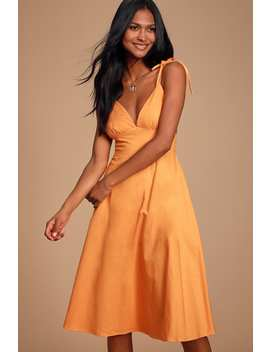 style-refresh-bright-orange-midi-skater-dress by lulus
