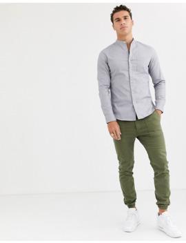 topman-long-sleeve-oxford-shirt-in-grey by topman