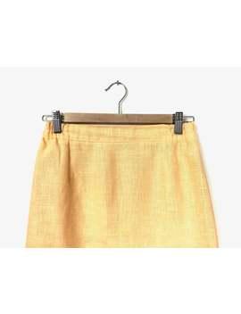 butterscotch-yellow-linen-skirt by etsy