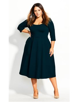 classic-sleeve-dress---emerald by city-chic