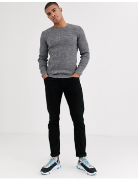 asos-design-muscle-fit-ribbed-crew-neck-jumper-in-black-_-black-&-white--twist by asos-design