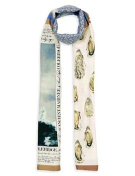 oyster,-monogram-&-mariner-print-silk-scarf by burberry