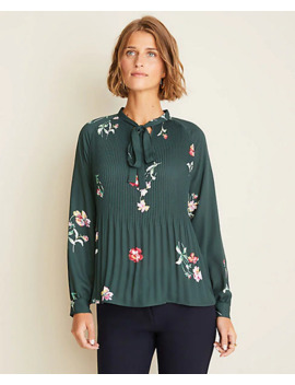 floral-pleated-tie-neck-blouse by ann-taylor