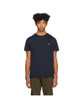 navy-pima-cotton-t-shirt by lacoste