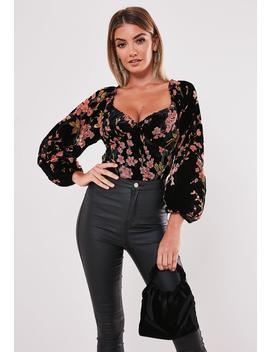 black-velvet-floral-devore-milkmaid-bodysuit by missguided