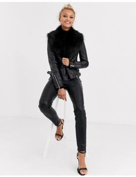 lipsy-pu-jacket-with-fur-collar-in-black by lipsy