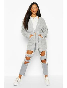 chunky-marl-knit-belted-cardigan by boohoo