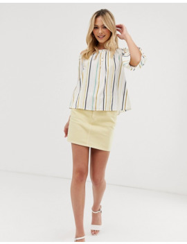 influence-off-shoulder-top-with-flared-sleeves-in-natural-stripe by asos