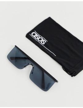 asos-design-visor-sunglasses-with-black-frame-with-smoke-lense by asos-design