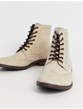 asos-design-brogue-boots-in-stone-suede-with-natural-sole by asos-design