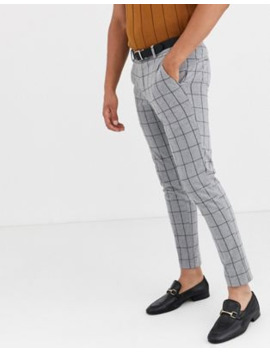 only-&-sons-smart-check-trousers-in-grey by only-&-sons