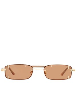 Gold & Brown Linda Farrow Edition Neo Sunglasses' by Y/Project