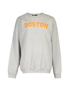 boston-slogan-print-sweatshirt by boohoo