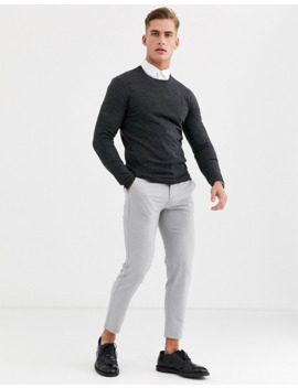 asos-design-knitted-muscle-fit-crew-neck-jumper-in-charcoal by asos-design