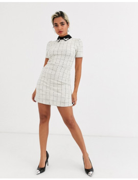 river-island-petite-shift-dress-with-contrast-lace-collar-in-white by river-island