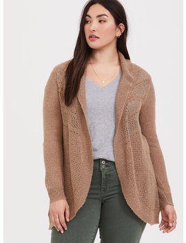 taupe-pointelle-knit-shawl-cardigan by torrid