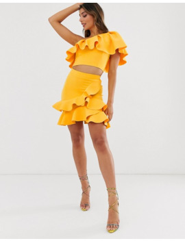 laced-in-love-one-shoulder-frill-scuba-crop-top-in-yellow by asos