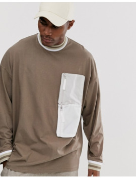 asos-design-oversized-long-sleeve-t-shirt-with-turtleneck-and-woven-utility-pockets-in-beige by asos-design