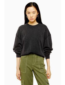 charcoal-grey-stone-wash-sweatshirt by topshop