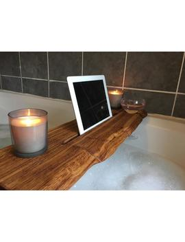 live-edge-solid-oak-wood-bespoke-rustic-bath-caddy-tray-tablet-wine-glass-holder by etsy