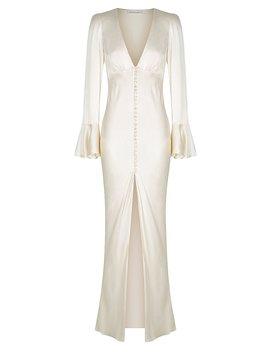 Joan Frill Cuff Bias Midi Dress   Cream by Shona Joy