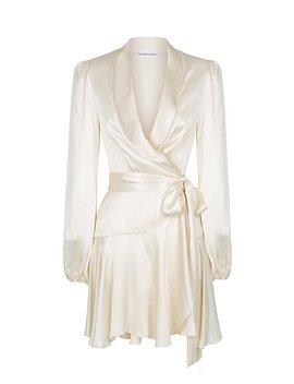 Joan Wrap Mini Dress   Cream by Shona Joy