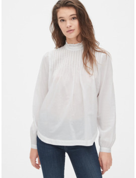 ruffle-neck-button-back-blouse by gap