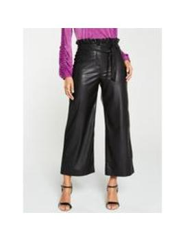 faux-leather-belted-wide-leg-crop-trouser---black by v-by-very