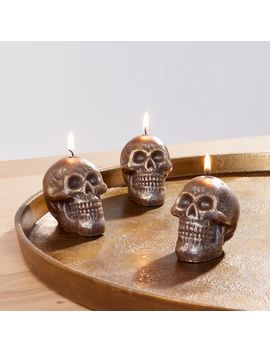 metallic-black-skull-tealight-candles,-set-of-3 by crate&barrel