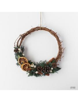 pine-cone-grapevine-wreath-with-evergreens,-cinnamon-and-dried-oranges,-rustic-christmas-holiday-decor,-10-inch by etsy